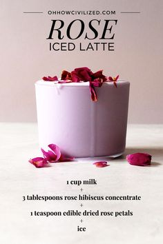 Infused with rose water and colored with hibiscus tea, see how to make a rose latte and a matcha rose latte. Top it all off with edible dried rose petals! Tea Recipes, Coffee Recipes, Drink Recipes, Refreshing Drinks, Summer Drinks, Healthy Drinks, Healthy Recipes, Healthy Food, Plat Vegan