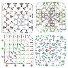 Delicadezas en crochet Gabriela: 그래니스퀘어 여러 패턴