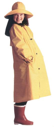 """Molly's yellow vinyl rain slicker with collar & hat. This 1940s era costume was from """"Dress Like Your Doll"""" by American Girl."""