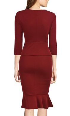 REPHYLLIS Women's Vintage Bowknot Belt Office Wear To Work Pencil Dress (Medium, Burgundy) at Amazon Women's Clothing store: