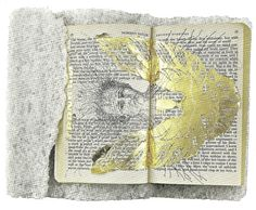 Matthew Barney, Ancient Evenings: Ba Libretto, 2009, Ink, graphite and gold leaf on paperback copy of Ancient Evenings by Norman Mailer, on carved salt base, in nylon and acrylic vitrine, 39.4 x 34.9 x 37.5 cm, Marguerite Steed Hoffman, Dallas, © Matthew Barney.