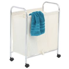 3 Divider Laundry Cart Small  $72.95  Clever solution for the family laundry routine. Sort your clothes into colours as you wheel from room to room. Three material laundry bags with metal framed openings, hang on a chrome frame with a wire mesh bottom shelf.