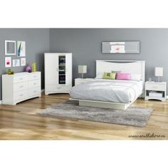 South Shore Bedtime Story Wood Laminate Queen-Size Platform Bed in Pure White 3050233 at The Home Depot - Mobile