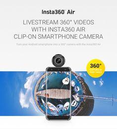 Insta360 Air. Una piccola camera portatile per smartphone che permette di girare video a 360 gradi, istantaneamente pubblicati sui social.