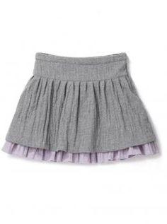 $47 Falda franela niña estilo bohemio con 2 faldones de franela frisada en superposición - CYRILLUS