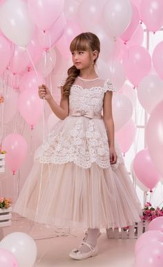 Champagne Flower Girl Dress First Communion Dress | Tulle Dress | Junior bridesmaid dress | Pageant Dresses | Toddler Dresses or older