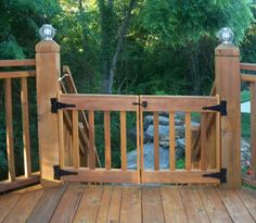 This customer wanted extra short deck gate panels, and used her own hardware. It's short so she can reach it easily coming up the steep steps. From Gates2U at  http://www.deck-gates.com