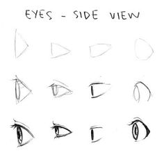 Manga eyes side view drawing tips drawing techniques drawing reference draw Realistic Eye Drawing, Drawing Eyes, Drawing Sketches, Art Drawings, Drawing Templates, Sketching, Cartoon Sketches, Drawing Tools, Animae Drawings