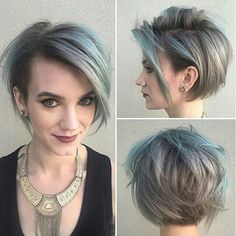 Long pixie + shaved side