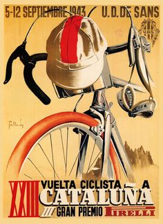 Bike 1943 Cataluna Grand Prix Bicycle Race Spain Spanish Vintage Poster Repro FREE SHIPPING in USA