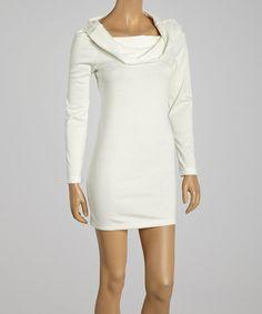 Look at this #zulilyfind! Ivory Cowl Boatneck Dress #zulilyfinds