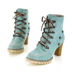 USD21.49Winter Round Toe Rivets Lace Up Chunky High Heel Blue Suede Short Martens Boots