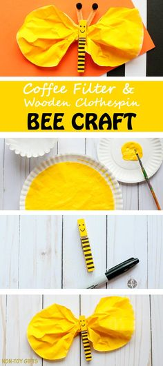 wooden clothespin yellow paint paintbrush black marker coffee filter pipe cleaner two black pom poms