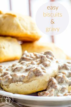Don't eat it every morning, but when you need a little brunch comfort food fast, this recipe for easy biscuits and gravy is what you want! Breakfast Dishes, Breakfast Biscuits, Breakfast Recipes, Breakfast Ideas, Breakfast Time, Breakfast Gravy Recipe Easy, Breakfast Casserole, Chicken Breakfast, Breakfast Healthy