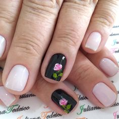 #nails💅 #unhastop #unhaslindas Flower Nail Designs, Flower Nail Art, Cool Nail Designs, Nail Art Diy, Easy Nail Art, Diy Nails, Fancy Nails, Cute Nails, Pretty Nails