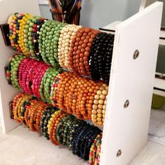 #display #bracelets I made a display for our wood stretchy bracelets.