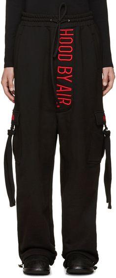 HOOD BY AIR Black Cargo Lounge Pants. #hoodbyair #cloth #pants