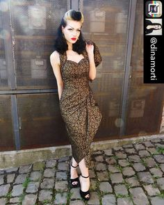 Image may contain: 1 person Looks Rockabilly, Rockabilly Kids, Rockabilly Fashion, Vampire Fashion, Gothic Fashion, Modern Vintage Fashion, Retro Fashion, Sarong Dress, Hipster Hairstyles