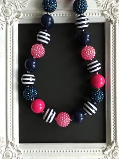 Navy and pink bubblegum necklace by LilchicboutiqueLIC on Etsy