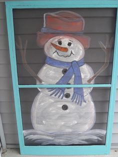 Snowman Snowmen Winter Painted Painting on Vintage Screen Cute Snowman, Snowman Crafts, Christmas Snowman, Winter Christmas, Xmas, Old Window Projects, Diy Projects, Window Art, Window Ideas