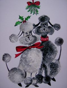 Poodle Painting - Under The Mistletoe by Leslie Manley Vintage Christmas Images, Retro Christmas, Christmas Cats, Vintage Holiday, Poodle Drawing, Under The Mistletoe, French Poodles, Oui Oui, Vintage Cards