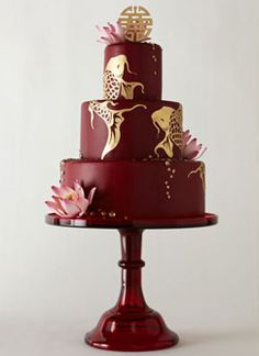 perfect for a japanese infused wedding! #red #wedding #cake