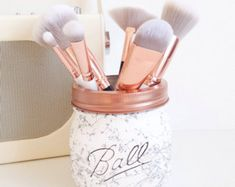 Painted Ball mason jar in blush pink and copper ombre  desk