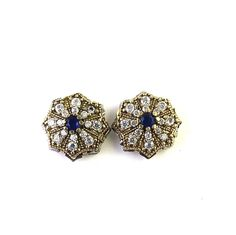 TURKISH OTTOMAN STERLING SILVER 925 LAB CREATED BLUE SAPPHIRE EARR STUD  TOPS  #SilvexStore #Studs