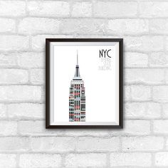 empire state building nyc travel poster instant download