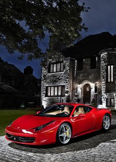 Bright red Ferrari 458 Italia.
