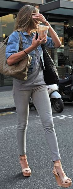 Grey skinnies, and cute wedge heels. LOVE!!!