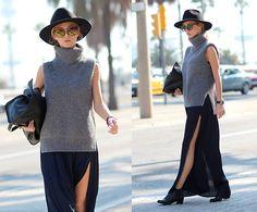 Sirma Markova - Choies Sleeveless Sweater, Zara Maxi Skirt, Zara Ankle Boots, Bershka Bag, H&M Hat, Parfois Watch - Sleeveless Sweater