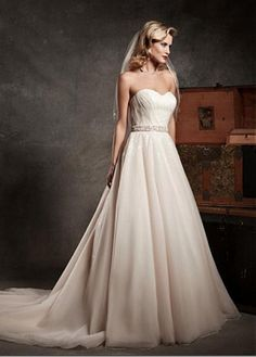 GORGEOUS ORGANZA SATIN SEQUIN LACE SATIN A-LINE SWEETHEART NECKLINE NATURAL WAIST WEDDING DRESS