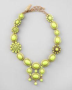 Oscar de la Renta Chartreuse Resin Necklace
