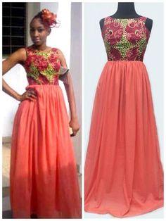 Beautiful ankara and chiffon mix African Dresses For Women, African Print Dresses, African Print Fashion, African Attire, African Wear, African Fashion Dresses, African Women, African Style, Ankara Fashion