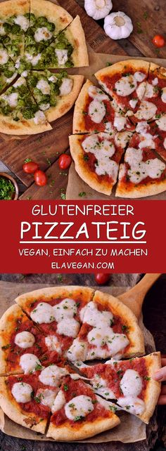 Pizza Margherita with vegan cheese. Pizza Margherita with vegan cheese. This recipe is not only good for all types of pizza, but also for flatbread and calzone. Pizza dough without xanthan gum! Pizza Sin Gluten, Dairy Free Pizza, Easy Gluten Free Pizza Crust, Keto Pizza Base, Paleo Pizza Crust, Gluten Free Snacks, Dairy Free Recipes, Vegan Gluten Free, Pizza Recipes