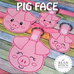 Pig Face - TWO Styles and TWO Sizes INCLUDED!!! BONUS Multis!  #thebeanstitch #beanstitchers #TBS #ith #inthehoop #machineembroidery #felties #feltie #embroidery #digitaldownload #keyfobs #bagtag #diy #snaptab #snapbean #handmade #vinyl #felt #craft #etsy #shopsmall #embroiderygift #travel #everyday #design #multipurpose #animal #farm #pig #piggy #pink #cute #BONUS #kawaii #keychain #NEW Embroidery Software, Machine Embroidery Designs, Embroidery Stitches, Pig Crafts, Kam Snaps, Beginner Crochet Projects, Felt Tree, Brother Embroidery, Unicorn Face