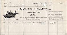 Original 1923 Illustrated Billhead for Michael Hemmer, Syracuse N.Y.