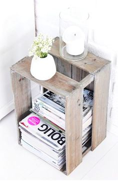 DIY bedside table. Loving this idea.