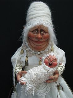 "[Fantasy art] ""The Royal Faery's Nanny"" by lorelllehman at Epilogue Mixed Media Sculpture, Soft Sculpture, Clay Dolls, Felt Dolls, Magical Creatures, Fantasy Creatures, Hobgoblin, Baby Fairy, Creepy Dolls"