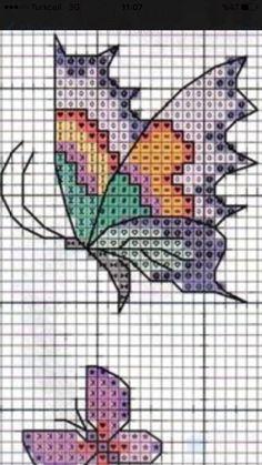 Cross stitch butterflies and chart. Cross Stitching, Cross Stitch Embroidery, Embroidery Patterns, Hand Embroidery, Small Cross Stitch, Butterfly Cross Stitch, Modern Cross Stitch Patterns, Cross Stitch Designs, Cross Stitch Boards