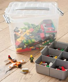 Toy Storage Box - 9 Litre at STORE. Large plastic box with divider tray for storing small toy clutter like those fiddly LEG. Toy Storage Boxes, Lego Storage, Plastic Box Storage, Crate Storage, Under Bed Storage, Kids Storage, Toy Boxes, Storage Spaces, Storage Ideas