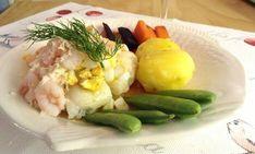 VÄRLDENS ENKLASTE: Torskfilé på Mannerströms sätt | Gunilla Fish And Seafood, Afternoon Tea, Potato Salad, Vit, Gluten, Vegetables, Ethnic Recipes, October, Veggie Food