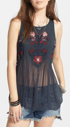 Free People 'In the Free World' Embroidered Top