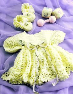 Yellow Rose Dress and Bootie Baby Set Crochet