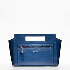 Coach Legacy Leather basket clutch in blue. Coach Legacy, Satchel, Crossbody Bag, Legacy Collection, Coach Clutch, Purses And Handbags, Me Too Shoes, Blue And White, Purses