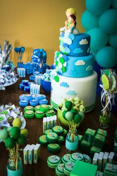 Green and Blue Balloon Themed Birthday Party with Lots of Really Cute Ideas via Kara's Party Ideas KarasPartyIdeas.com