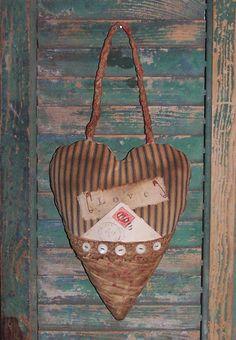 Primitive Valentine Pocket Door Hanger, by Prairie Primitives Folk Art. Handmade in the USA!