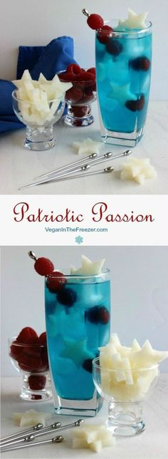 of July treat- bbq drink: Our Patriotic Passion Cocktail will get you in the spirit! Cool refreshing flavors with stars and raspberries. Mix it by the glass or pitcher. Fun Cocktails, Party Drinks, Summer Drinks, Cocktail Drinks, Fun Drinks, Cocktail Recipes, Alcoholic Drinks, Beverages, Drink Recipes