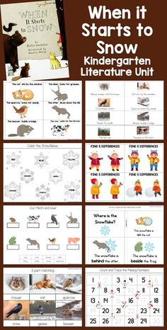 Winter Theme Kindergarten Literature Unit based on the book When It Starts to Snow. Kindergarten Lessons, Homeschool Kindergarten, Homeschooling, Preschool, Learning Time, Early Learning, Sequencing Activities, Book Activities, Ninja